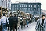 Barikādes pie Latvijas Ministru Padomes ēkas, 1991. gada arhīva foto