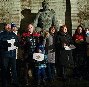 В Таллинне исполнили Смуглянку у Бронзового солдата