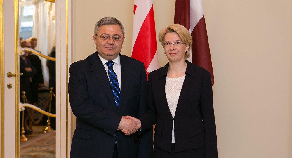 Председатель сейма И.Мурниеце с председателем парламента Грузии Д.Усупашвили