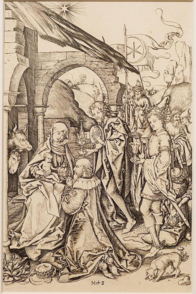 Мартин Шонгауэр, гравюра Поклонение волхвов, 1470/1475
