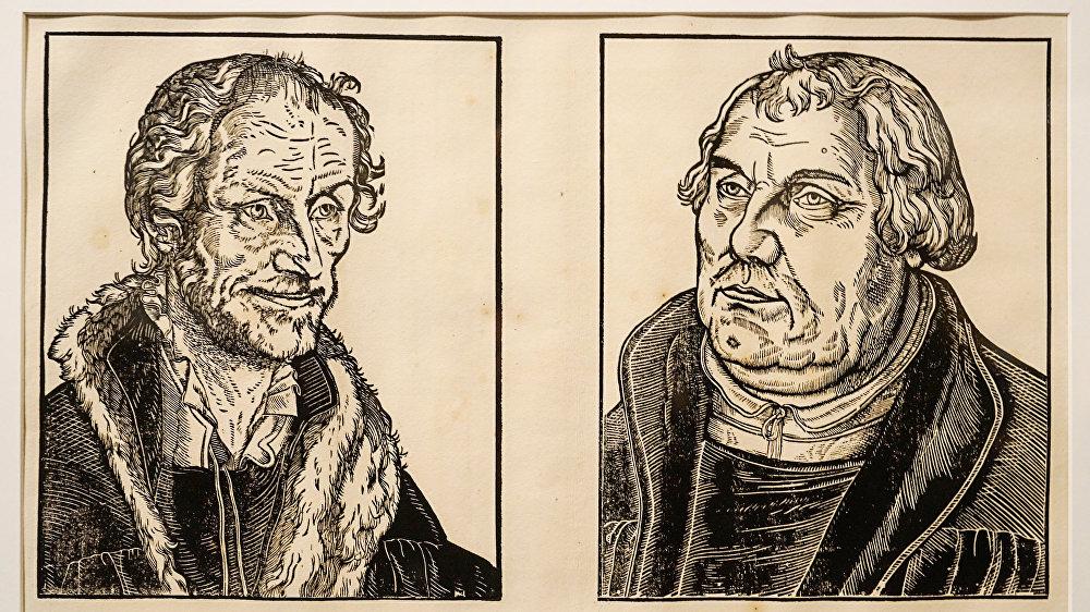 Портреты Филиппа Меланхтона и Мартина Лютера. Гравюра Лукаша Кранаха старшего, начало 16 века
