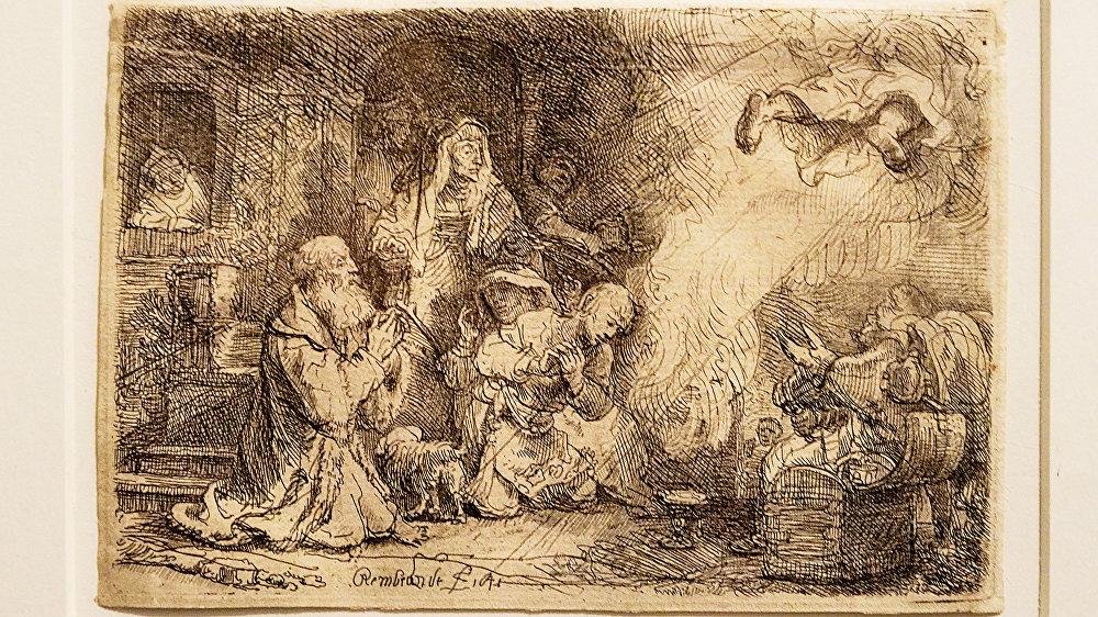 Рембрандт Харменс Ван Рейн - офорты, картина Ангел покидает семейство Товии, 1641