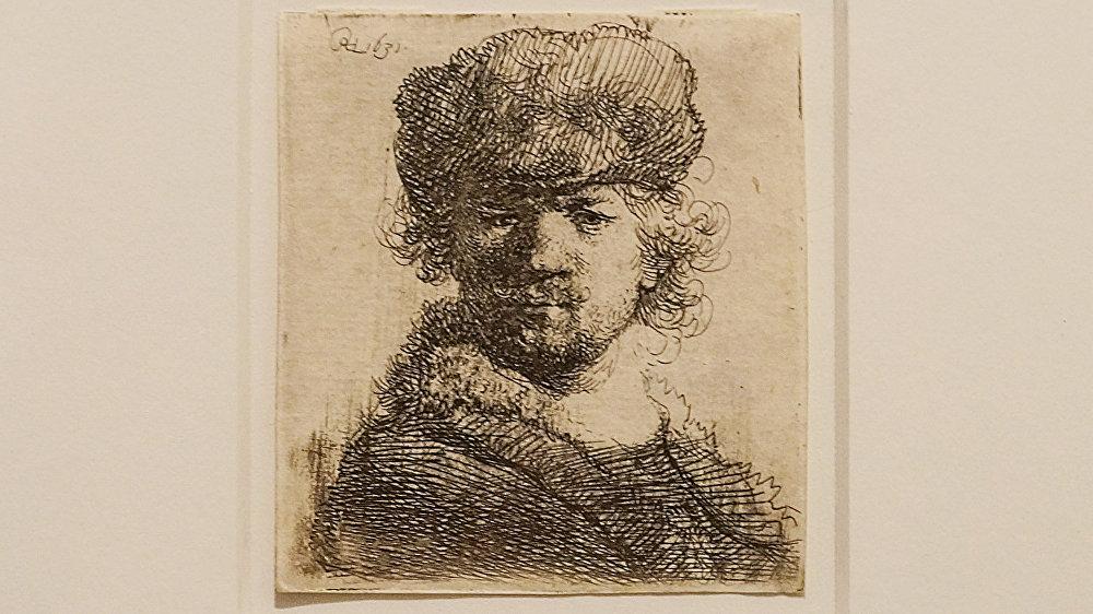 Рембрандт Харменс Ван Рейн - Автопортрет в круглой шапке, 1631