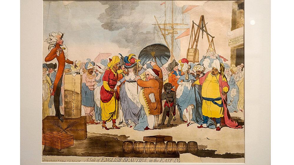 Карикатура Продажа английских красавиц в Восточной Индии, Джеймс Гилрей, 1786