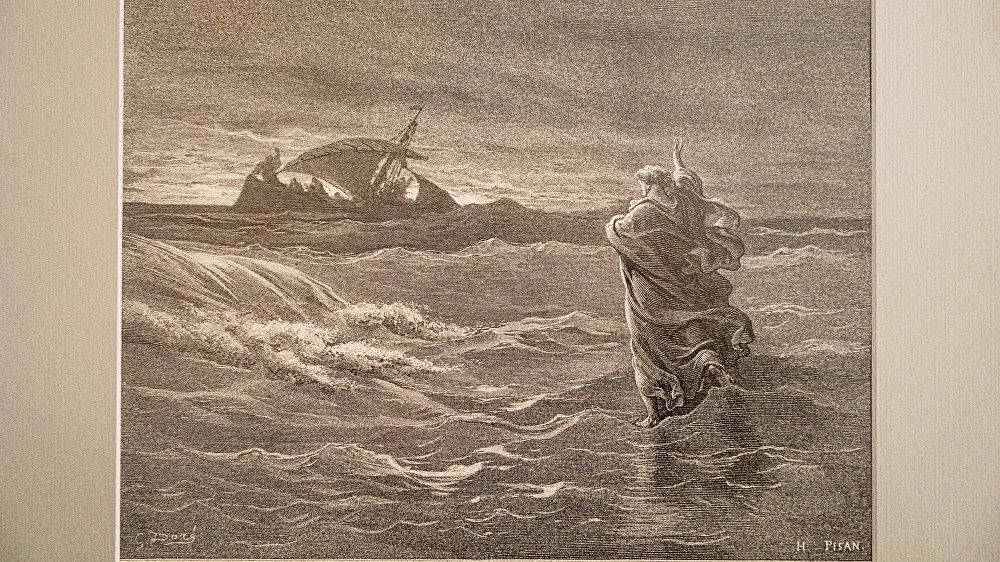 Иисус, идущий по воде Гюстав Доре, 1866