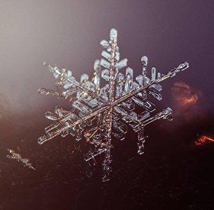 Макросъемка снежинки, архивное фото