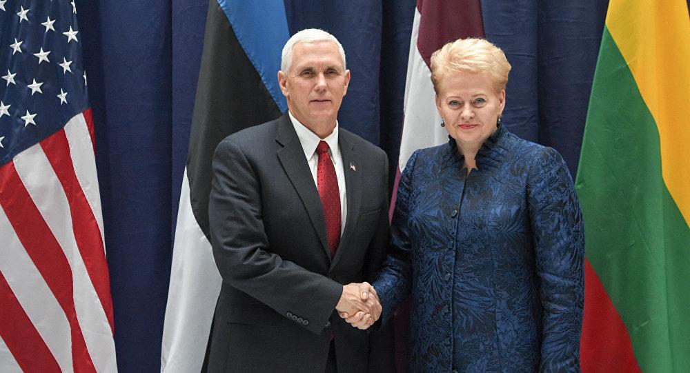 Президент Литвы Даля Грибаускайте и вице-президент США Майкл Пенс после встречи на полях Мюнхенской конференции по безопасности
