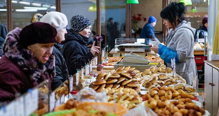 Продажа булочек на Центральном рынке