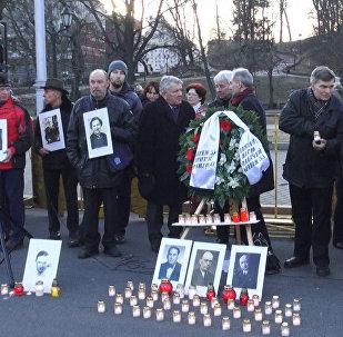 SS leģionāru upuru pēcteči organizējuši protesta akciju Rīgā