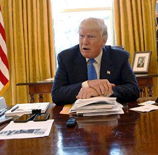 ASV prezidents Donalds Tramps Ovālajā kabinetā. Foto no arhīva