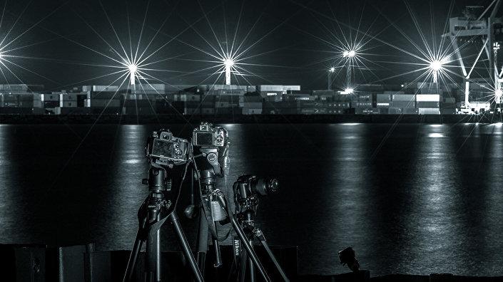 Встреча фотографов в ночи у Даугавы