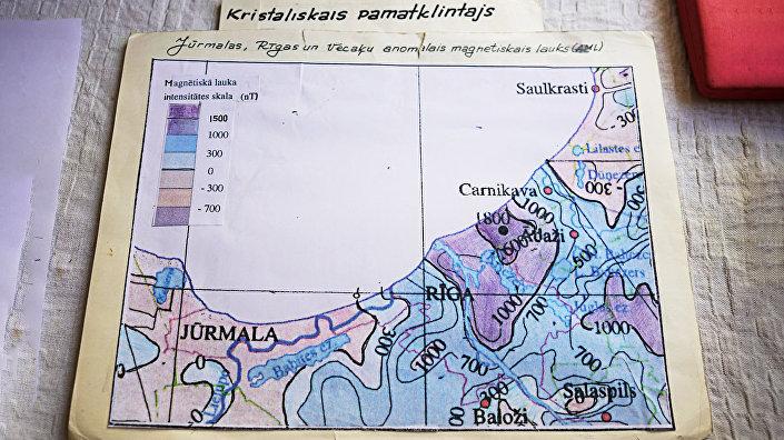 Карта магнитных аномалий Риги и окрестностей - все синее - магнитная аномалия зашкаливает