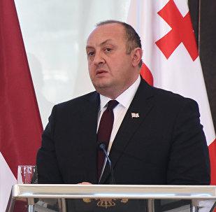 Президент Грузии Георгий Маргвелашвили на встрече с президентом Латвии