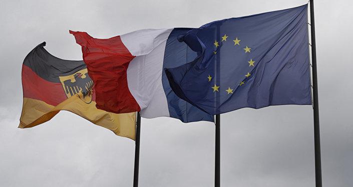 Francijas, Vācijas un ES karogi