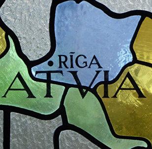 Витраж с картой Латвии