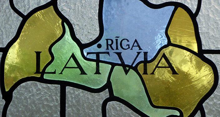 Vitrāža ar Latvijas karti