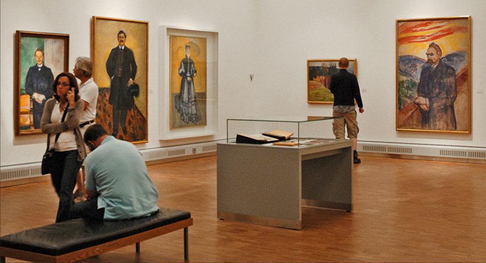 Экспозиция работ художника Эдварда Мунка в Музее Мунка в Осло, архивное фото