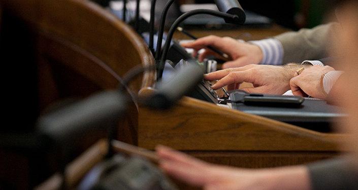 Balsošana Saeimā. Foto no arhīva