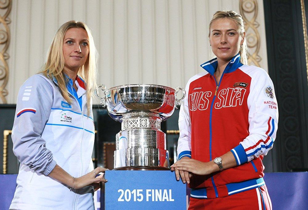 Слева направо: Петра Квитова (Чехия) и Мария Шарапова (Россия)
