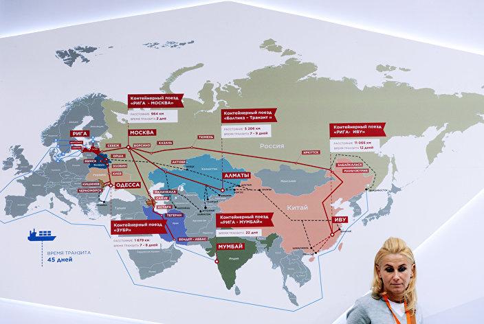 Карта маршрутов контейнерных поездов на выставке