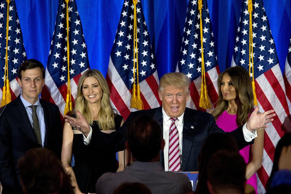 Дональд Трамп с супругой Меланией, дочкой Иванкой и зятем Джаредом Кушнером