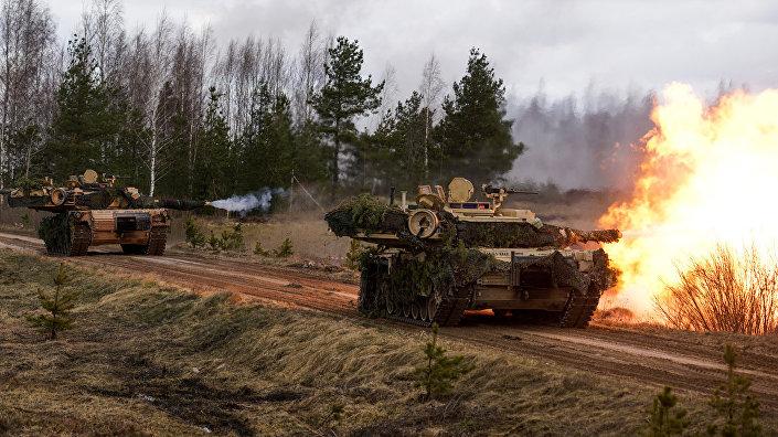 Основной боевой танк США M1A2 Abrams на международных учениях Summer Shield XIV