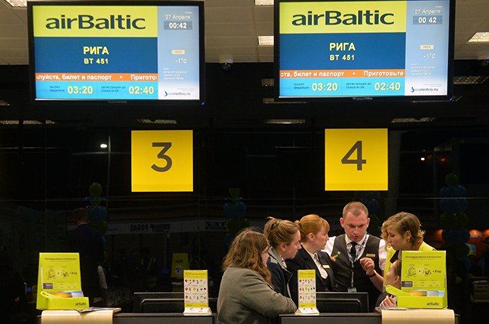 Стойки регистраций airBaltic в Международном аэропорту Казань