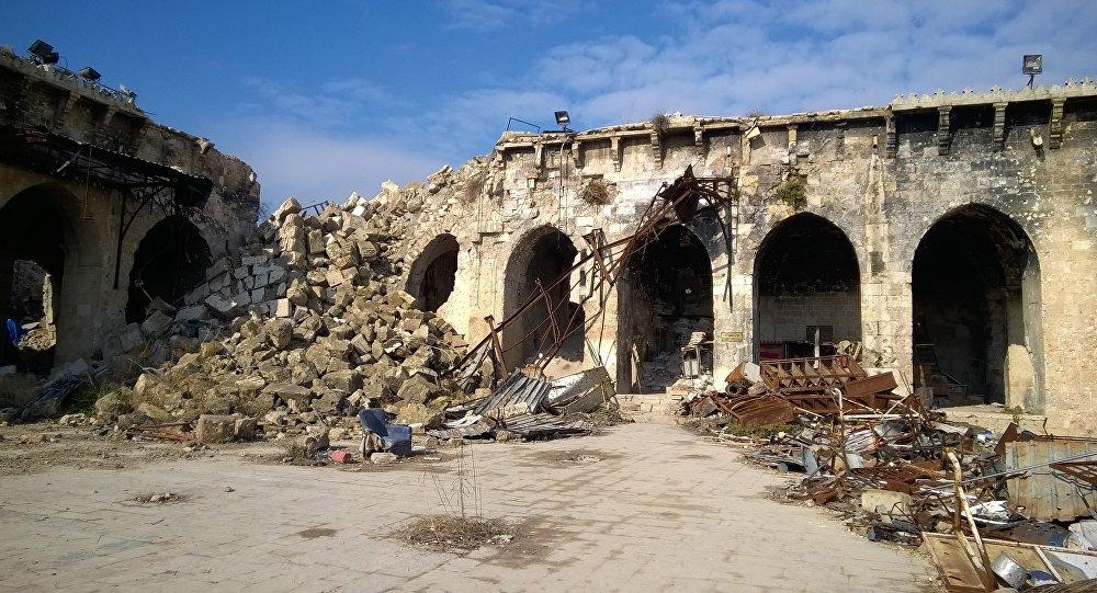 Sagrautā Omeijādu mošeja Alepo. Foto no arhīva