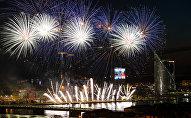 Праздничный салют в День восстановления независимости Латвийской республики