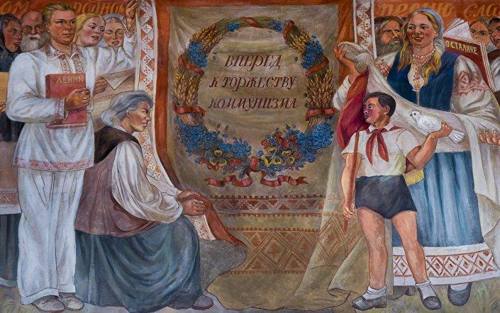 Живопись на фасаде павильона Республика Беларусь на территории ВДНХ