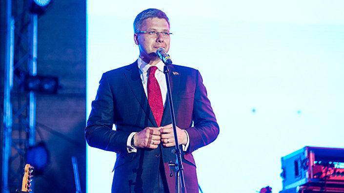Мэр Риги Нил Ушаков на праздновании 9 мая в Парке Победы