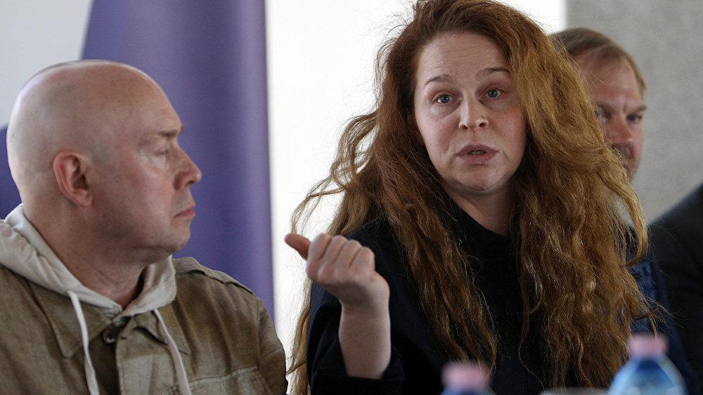 Виктор Сухоруков и Агриппина Стеклова на пресс-конференции накануне спектакля Тартюф