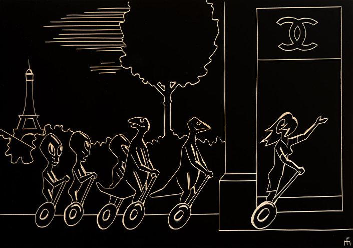 Микелис Фишерс. Рептилоиды на организованном шопинг-туре на Елисейских полях. Резьба по дереву