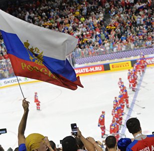 Болельщики во время матча группового этапа чемпионата мира по хоккею 2017 с участием сборной России