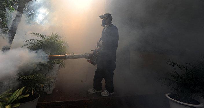 Распыление инсектициды для борьбы с комарами переносящими вирус. Архивное фото