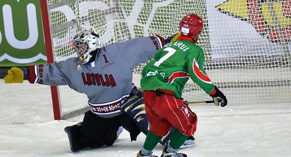 Матч Латвия - Белоруссия на ЧМ по бенди
