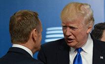 ASV prezidents Donalds Tramps ticies ar ES līderiem Briselē