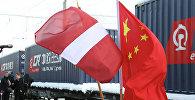 Konteineru vilciens no Ķīnas. Foto no arhīva