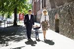 Rīgas mērs Nils Ušakovs ar dzīvesbiedri un dēlu