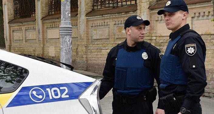 Ukrainas policijas darbinieki Kijevā. Foto no arhīva.
