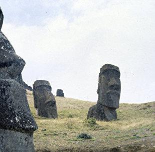 Senās polinēziešu mākslas pieminekļi - akmens tēli moai