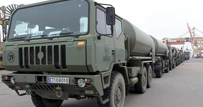 Spānijas militārās tehnikas ierašanās Latvijā