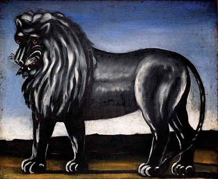 Репродукция картины Нико Пиросмани Черный лев