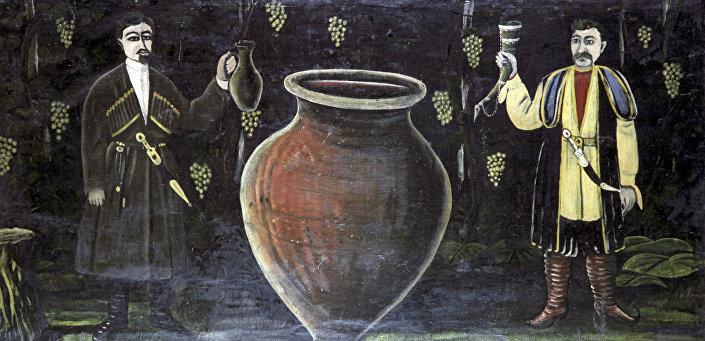 Двое грузин у марани. Репродукция картины Н.Пиросмани
