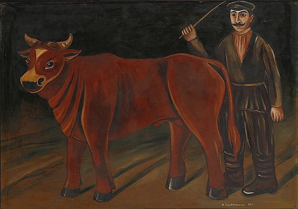 Фермер с быком, Нико Пиросмани, 1916