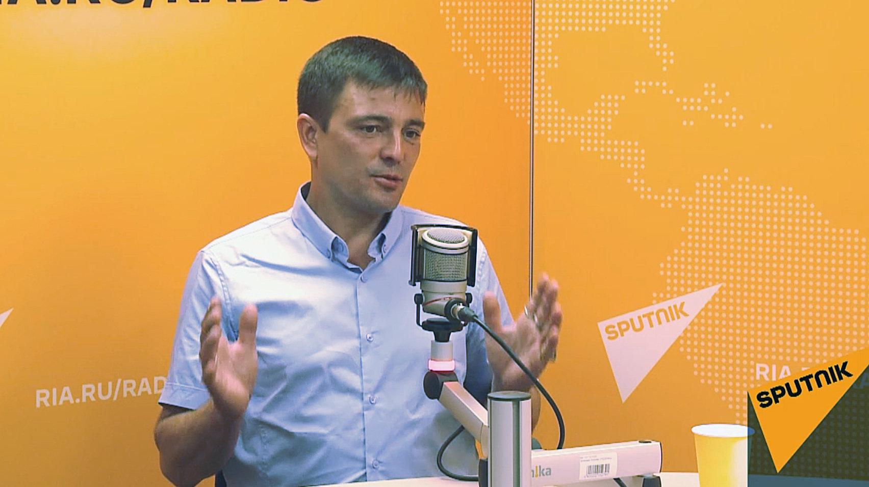 Полярник Герман Москвитин в студии радио Sputnik