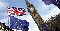 ES un Lielbritānijas karogi Big Ben fonā. Foto no arhīva