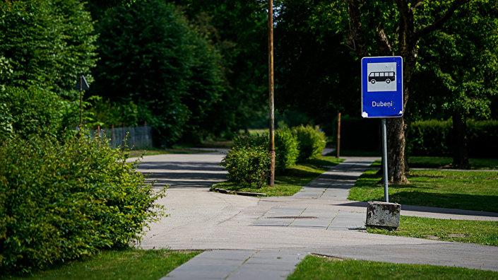 Конечная остановка автобуса номер 904 в посёлке Дубени