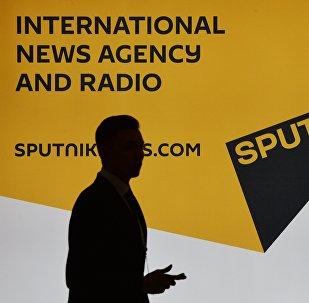 Стенд международного информационного агентства и радио Sputnik, архивное фото