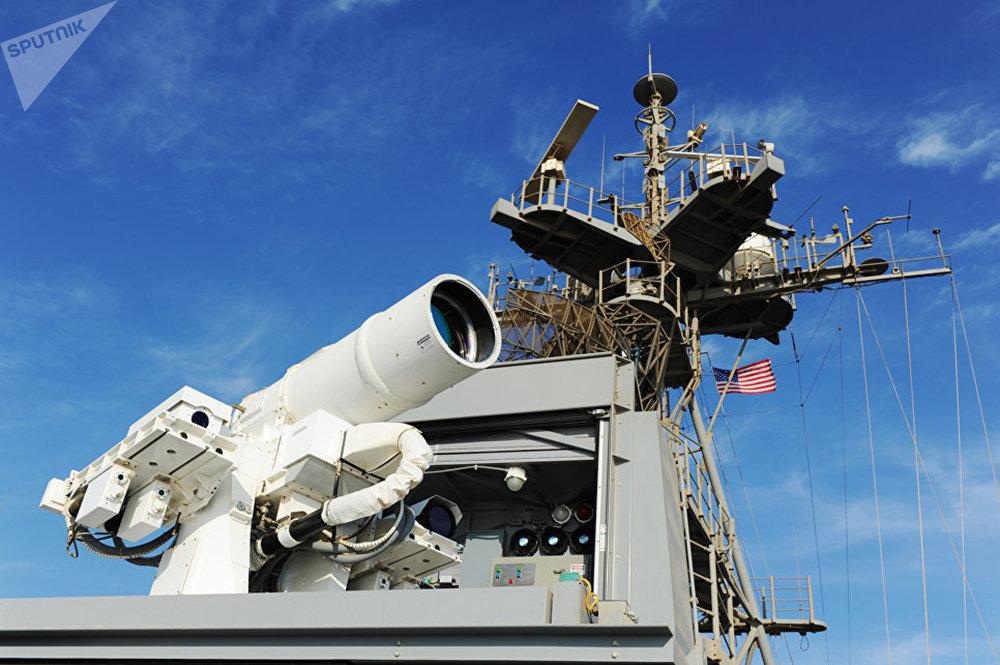 Лазерная пушка, установленная на борту корабля USS Ponce